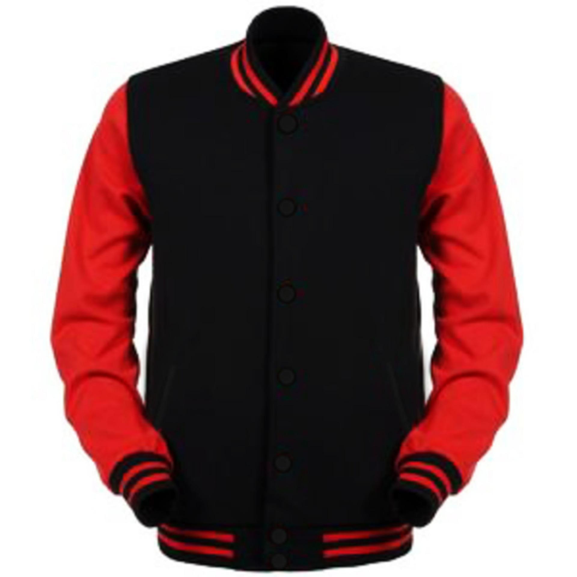 [HARGA GROSIR] Jaket Baseball Varsity Polos Hitam - Merah